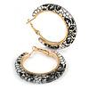 Trendy Black/ White Floral Print Acrylic Hoop Earrings In Gold Tone - 43mm Diameter - Medium