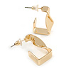 Small Square Twisted Hoop Earrings In Gold Tone Metal - 23mm Tall