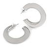 40mm Medium Mirrored Acrylic Hoop Earrings In Silver Tone