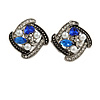Marcasite Square Blue/ Clear Crystal, White Faux Peal Clip On Earrings In Antique Silver Tone - 20mm L