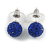 Montana Blue Crystal Ball Stud Earrings In Silver Plated Finish - 9mm D