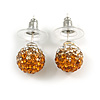 Orange/ Citrine/ Clear Crystal Ball Stud Earrings In Silver Plated Finish - 10mm D
