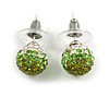 Olive/Grass Green/Clear Crystal Ball Stud Earrings In Silver Plated Finish -10mm D