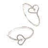 50mm Large Clear Crystal Open Heart Motif Hoop Earrings In Silver Tone