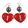 Red Plastic Crystal Heart Earrings In Silver Tone - 60mm Long