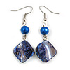 Blue Shell Bead Drop Earrings In Silver Tone - 60mm Long