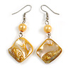 Antique Yellow  Shell Bead Drop Earrings In Silver Tone - 60mm Long