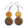 Honey Brown Double Shell Drop Earrings In Silver Tone - 50mm Long