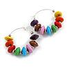 30mm Multicoloured Wood Bead Hoop Earrings In Silver Tone
