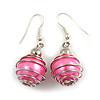 Silver Tone Pink Faux Pearl Bead Drop Earrings - 4cm Drop