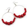 50mm Diameter Cherry Red Wood Bead Hoop Drop Earrings In Silver Tone - 75mm Long