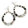 Black/ White/ Transparent Ceramic/ Glass Bead Hoop Earrings In Silver Tone - 80mm Long