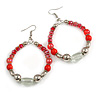 Red/ Silver/ Transparent Ceramic/ Glass Bead Hoop Earrings In Silver Tone - 80mm Long