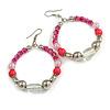 Fuchsia/ Pink/ Transparent Ceramic/ Glass Bead Hoop Earrings In Silver Tone - 80mm Long