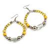 Lemon Yellow/ Silver/ Transparent Ceramic/ Glass Bead Hoop Earrings In Silver Tone - 80mm Long