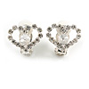 Clear Crystal Open Heart Clip On Earrings In Silver Tone Metal - 17mm Across