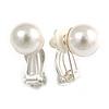 10mm D Classic Faux Pearl Clip On Earrings In Silver Tone