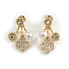 Gold Tone Clear Crystal White Faux Pearl Front Back Stud Earrings - 25mm Drop