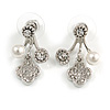 Silver Tone Clear Crystal White Faux Pearl Front Back Stud Earrings - 25mm Drop