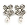 Bridal/ Prom/ Wedding Clear Crystal Faux Pearl Flower Earrings In Silver Tone - 40mm Long