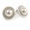 Clear Crystal Faux Pearl Button Shape Stud Earrings In Silver Tone - 18mm D