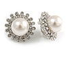 Statement Crystal Faux Pearl Floral Clip On Earrings In Silver Tone - 28mm Dimeter