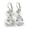 Bridal/ Prom/ Wedding Clear Cz Teardrop Earrings In Rhodium Plating With Leverback Closure - 45mm L