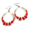 Red/ Transparent Ceramic/ Glass Bead Hoop Earrings In Silver Tone - 70mm Long