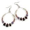Lavender/ Plum/ Transparent Ceramic/ Glass Bead Hoop Earrings In Silver Tone - 70mm Long