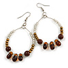 Brown/ Bronze/ Transparent Ceramic/ Glass Bead Hoop Earrings In Silver Tone - 70mm Long