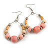 Pastel Pink Ceramic/ Natural Wood Bead Hoop Earrings In Silver Tone - 70mm Long