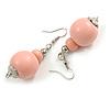 Pastel Pink Double Bead Wood Drop Earrings In Silver Tone - 60mm Long