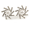 Clear Crystal Faux Pearl Snowflake Stud Earrings In Silver Tone - 20mm Diameter