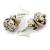 White/ Black/ Gold Double Bead Wood Drop Earrings In Silver Tone - 55mm Long