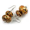 Glitter Gold/ Black/ Orange Double Bead Wood Drop Earrings In Silver Tone - 55mm Long