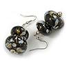 Black/ Gold/ White Double Bead Wood Drop Earrings In Silver Tone - 55mm Long