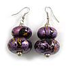 Purple/ Black/ Gold Double Bead Wood Drop Earrings In Silver Tone - 55mm Long