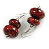 Red/ Black/ Gold Double Bead Wood Drop Earrings In Silver Tone - 55mm Long