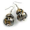 Grey Silver/ Black/ Gold Double Bead Wood Drop Earrings In Silver Tone - 55mm Long