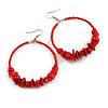 Large Brick Red Glass, Shell, Wood Bead Hoop Earrings In Silver Tone - 75mm Long