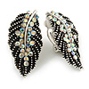 Marcasite AB Crystal Leaf Textured Clip On Earrings In Aged Silver Tone - 30mm Tall