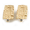 Square Hammered Clip On Earrings In Matte Gold Tone - 25mm Tall