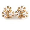Gold Tone Clear Crystal, Faux Pearl Floral Clip On Earrings - 20mm Tall
