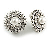 Bridal/ Prom/ Wedding Clear Crystal Faux Pearl Round Clip On Earrings In Silver Tone - 20mm Diameter