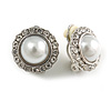Classic Faux Pearl Clear Crystal Dome Shape Clip On Earrings In Silver Tone - 15mm Diameter