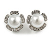 Faux Pearl Clear Crystals Flower Clip On Earrings In Silver Tone - 17mm Diameter