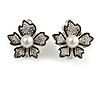 Floral Faux Pearl Clip On Earrings In Silver Tone - 20mm Tall
