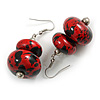 Red/ Black Double Bead Wood Drop Earrings In Silver Tone - 55mm Long
