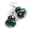 Black/ Green/ White Double Bead Wood Drop Earrings In Silver Tone - 55mm Long
