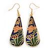 Multicoloured Enamel Floral Teardrop Earrings In Gold Tone - 65mm Long